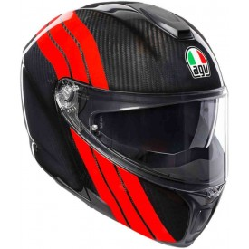 CASCO AGV SPORT MODULAR CARBON STRIPES
